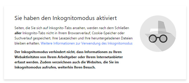 Inkognito Fenster in Google Chrome
