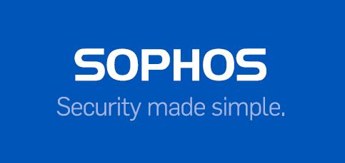 Sophos Logo auf blauem Hintergrund